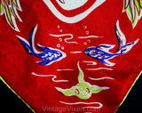 1950s Catalina Island Scarf - California Tourist Novelty Print Silk - 50s Flying Fish Nautical Ships Beach Theme - Gorgeous Summer Hollywood