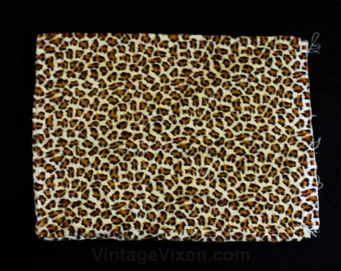Leopard Faux Fur Fabric Pillow Case - 1950s 1960s Bachelorette Pad Decor - Single Pillowcase Cover - Brown Animal Novelty Print - Raw Edge