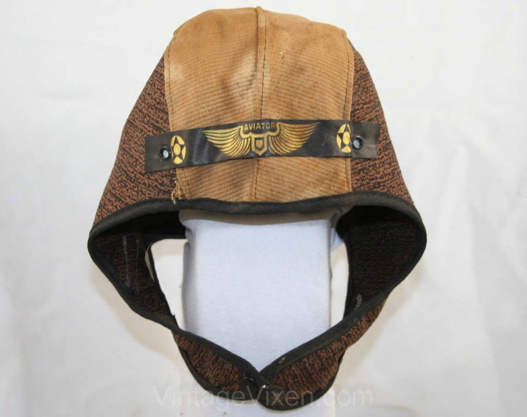 Child's 1930s Aviator Helmet - Brown Cotton Pretend Play Dress Up Boy's Hat - Authentic 20s 30s Cap - Rare Lindbergh Costume Deadstock