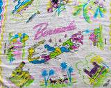 Bermuda Souvenir Scarf - 1950s 60s Tourist Novelty Print - Map of Tropical Islands - Sheer Pink Blue White Silk - Landmarks - Large Square