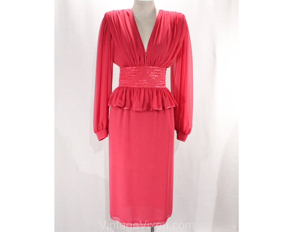 Size 0 Pink Cocktail Dress - Fabulous Designer Wayne Clark XXS 1980s Dress - Bishop Sleeves - Rich Gathers & Sumptuous Silk Satin - Bust 32