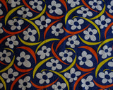 Mod 60s Navy Blue Daisy Cotton Canvas - 1.6 Yards x 35 Inches Wide - 1960s Summer Tiki Print Daisies & Boomerangs - Fresh Vintage Yardage