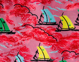 1940s Silk Fabric - 4 Yards Pink Sailboats 40s Novelty Print from Italy - Deadstock Dress Shop Yardage - Salmon Blue Yellow Green Fine Crepe