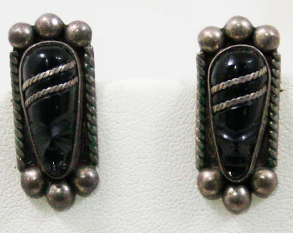 40s Warrior Earrings - Sterling Silver & Black Stones - Hecho En Mexico - 1940s Artisan Made Hand Carved Fierce Faces - Signed NF - 42579