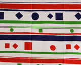 60s Mod Cotton Fabric - Over 3 Yards x 44.5 Inches - 1960s Canvas Yardage - Red White Blue Green Stripes & Geometric Shapes - B. Altman
