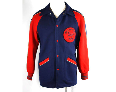 Men's Large Letter Jacket - ca. 1961 Baseball Sports Jacket by 'League Master' - 1960s Athletics Natick High School - Red & Blue - Chest 44