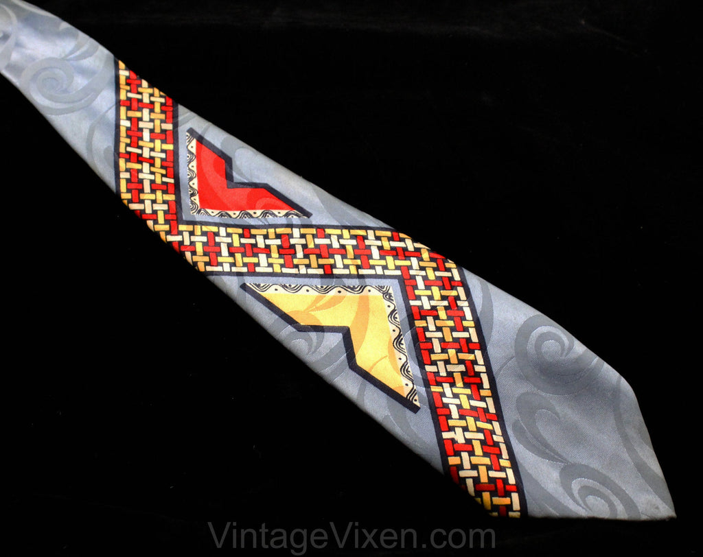 1940s Men's Tie - Collector's 40s WWII Era Necktie - Woven Novelty Print Titled California Checks - 40s Swing Style Wide Rayon Satin Cravat