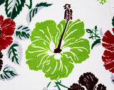 40s Hibiscus Print Fabric - Nearly 3 Yards - Red Chartreuse Scarlet 40s Tropical Flowers Yardage - White Acetate Slinky Summer Dress Fabric