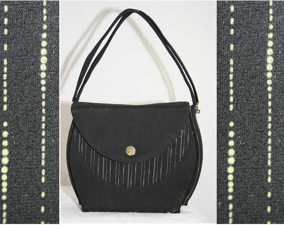 1930s Art Deco Handbag with Pinstripe - 30s Black Purse with Pin Stripes - Rare Deadstock Bag with Original Tag Coin Purse - 39571