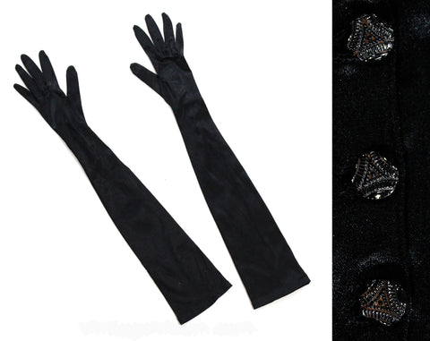 Long Black Gloves - Victorian Inspired Satin Stretch Knit Gloves - To The Elbow Opera Length 1950s - Deco Antique Glass Buttons At Wrist
