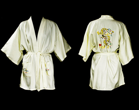 Large 1960s Asian Kimono Style Robe with Dragon Embroidery - Eastern 60s Lounge Wear - Mens or Ladies Unisex - Chest to 45