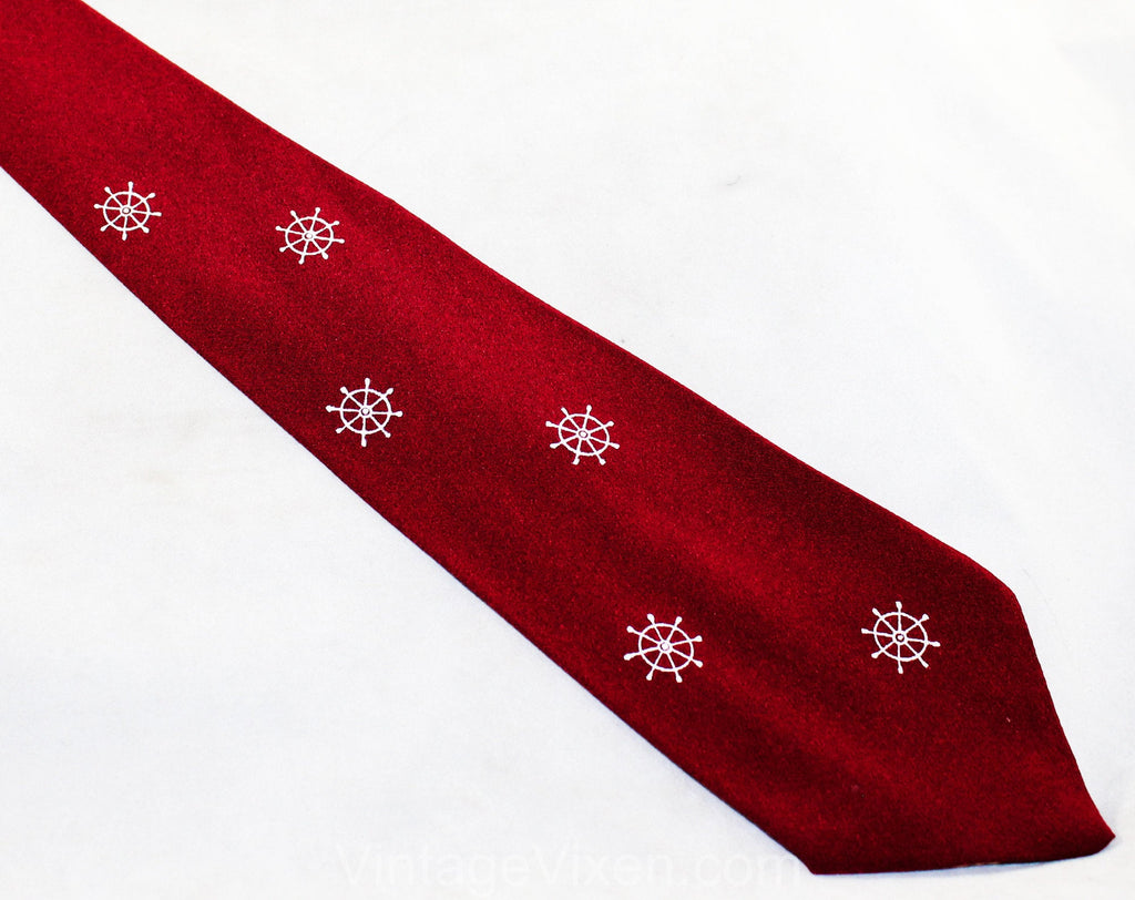 1940s Men's Tie - 30s 40s Novelty Snowflakes Print - Burgundy Red Crepe Mens Necktie with Snow Flakes or Nautical Ship's Wheel Motif