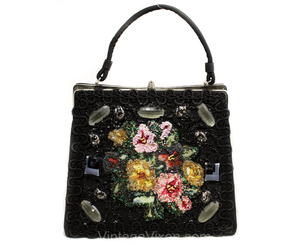 1950s Bead Collage Handbag - Needlepoint Flowers Kitsch 50s 60s Purse - Collectable Black Taffeta Bag with Marbled Glitter Cabochons