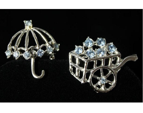 April Showers & May Flowers Scatter Pin Set - 60s Umbrella and Flower Cart Rhinestone Brooches - Preppie 60s Spring Pair - Light Blue Silver