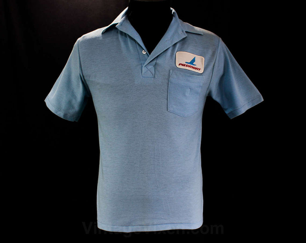 Men's XS Polo Shirt - 70s Mens Piedmont Airlines Logo Summer Top - 1970s Airport Airplanes - Sky Blue Cotton - Short Sleeve - Chest 36