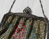 1920s Flapper Purse - Authentic Antique Whiting & Davis Metal Mesh Bag - Art Deco 20s Handbag - Pink Blue Green Floral with Chain Strap