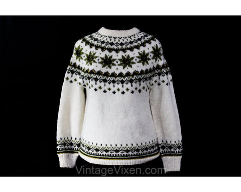 Size 8 Norwegian Pullover Sweater - Hand Knitted Sage Green & Ivory Daisy Motif 1960s Folk Style Medium Jumper - Made in Norway - Bust 39