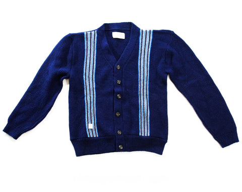 Teen Boy 1950s Cardigan - 50s 60s Navy Button Front Sweater - Dark & Sky Blue Racing Stripes - V Neck Old School Knit Top - Chest 32 - NWT