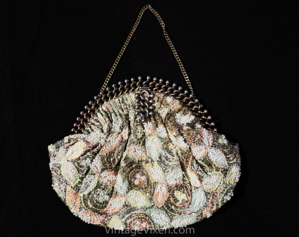 1940s Beaded Evening Bag - Gorgeous Pastel Formal Purse with Radiant Metal Frame - 40s 50s Hollywood Style Handbag - Peach Aqua Blue Yellow