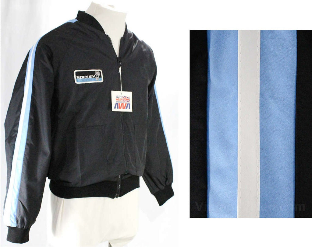 Men's Medium Racing Jacket - Black Sporting Nylon Windbreaker with Mercury Marine Logo - Late 70s Early 80s - NWT Deadstock - Chest 42