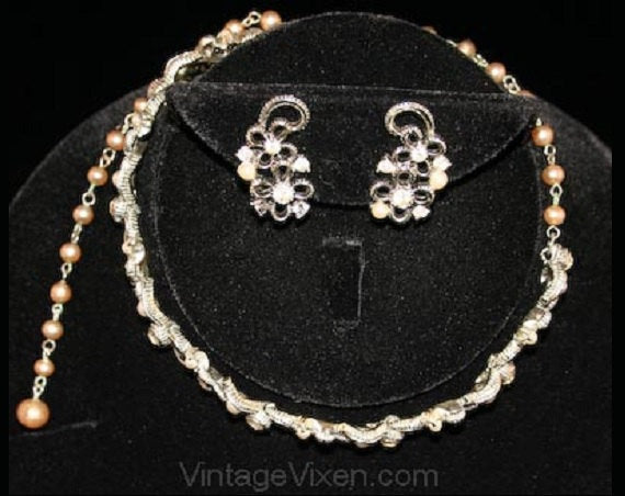 Pretty Floral Motif Necklace & Earrings by Lisner - Silvertone Silver Color Metal - 1950s Demi Parure - Faux Pearls - Rhinestones - 32091-1