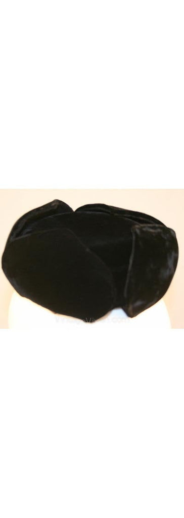 Diminutive 1950s Black Velvet Cossack Style Hat - Russian Look - Customed By Harold Shell - Designer - Winter - Fine Millinery - 32257-1