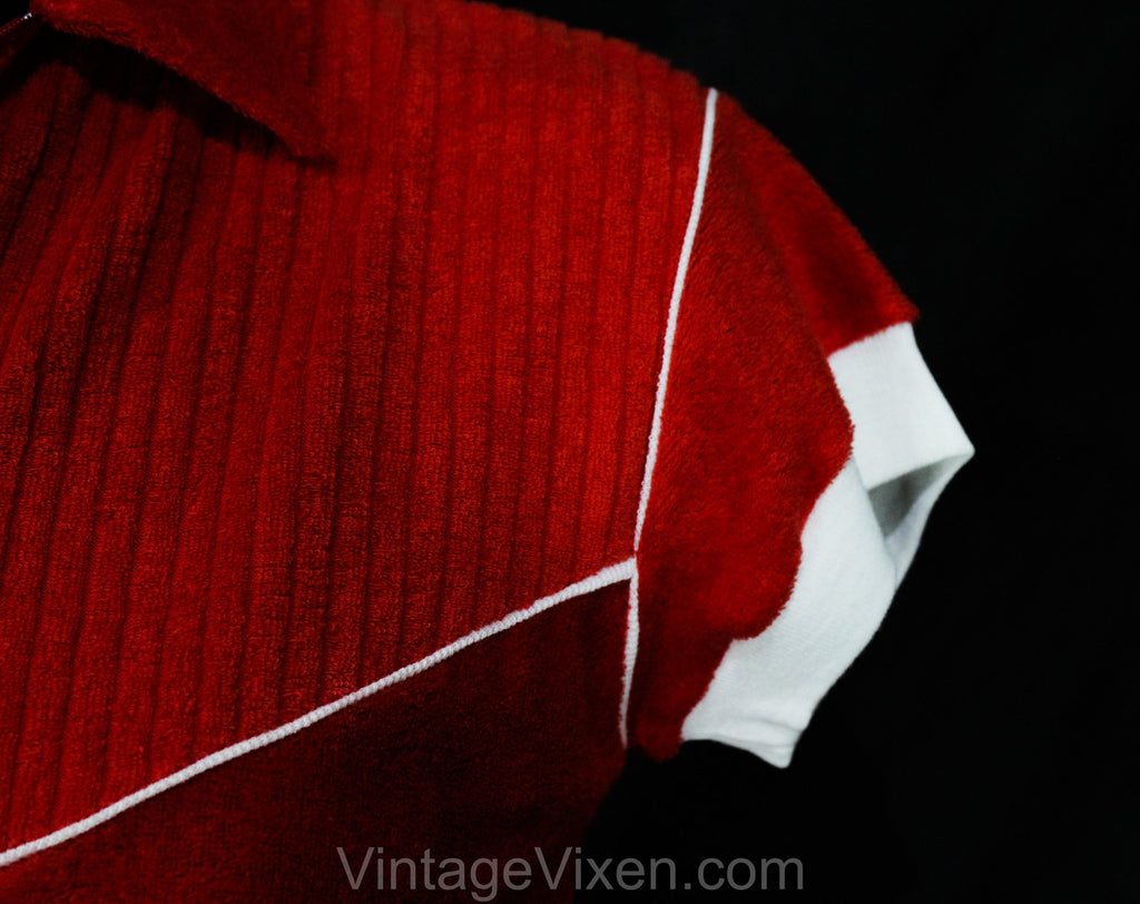 NOS Red Terry Knit Top 70s Vintage