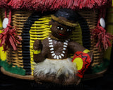 Rare 1950s Novelty Figural Purse - Tiki Hut & Native Drummer Scene - Raffia Roof Lid - Hand Painting - Kitsch 50s Summer Resort Hand Bag