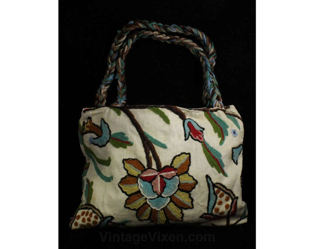 Hippie Chic 1970s Purse - Crewelwork Cotton Canvas Tote with Braided Straps - 70s Summer Boho Handbag - Blue Green Cream Bohemian Crewel Bag