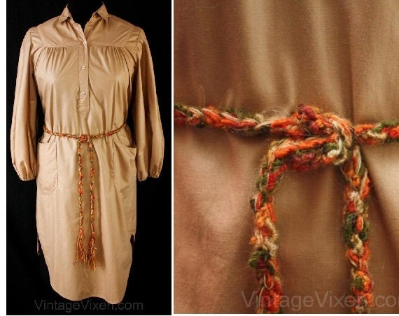Large 1970s Khaki Shirt Dress with Crafty Knit Belt - Size 14 - Samuel Robert - 70s 80s Designer - Long Sleeved - Chic - Bust 41- 37507-1