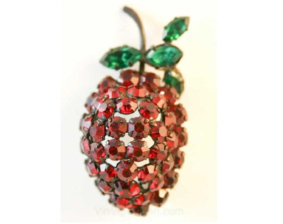 Delectable Berry Rhinestone Pin - Made In Austria - Winter Brooch - Red & Green Holiday Colors - 1950s Novelty Fruit - Domed Shape - 38369