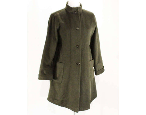 XL Cashmere Blend Coat - Luxury SuperAngora 3/4 Length Minimalist Jacket - Pierrette Switzerland - Very Dark Pine Green - Bust up to 56