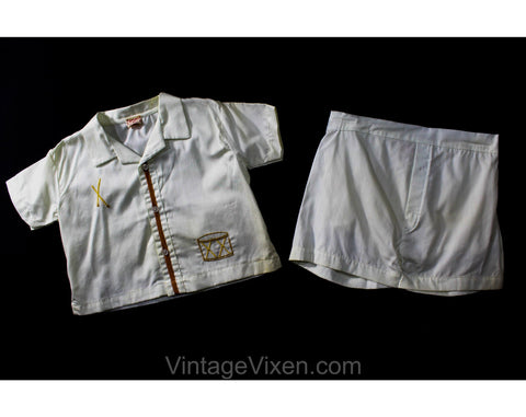 Little Drummer Boy 1950s Toddler's Shorts Set - Size 18 Months - Child 50s 60s Unworn Play Outfit with Plastic Diaper Lining - NOS Deadstock