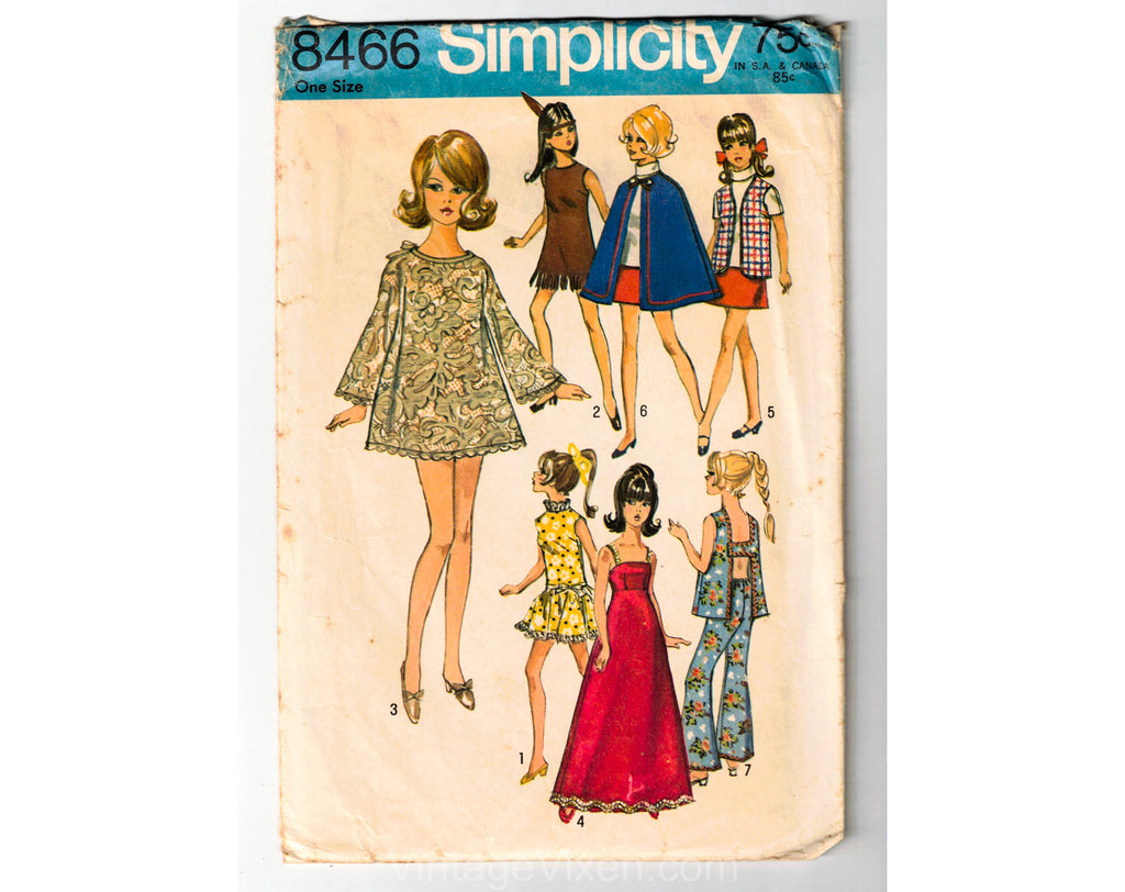 60s Vintage Doll's Mini Dress Pattern - Dated 1969 Mini Babydoll for 11 1/2 Inch Fashion Doll - Simplicity 8466 1960s Vest Cape Top Pants