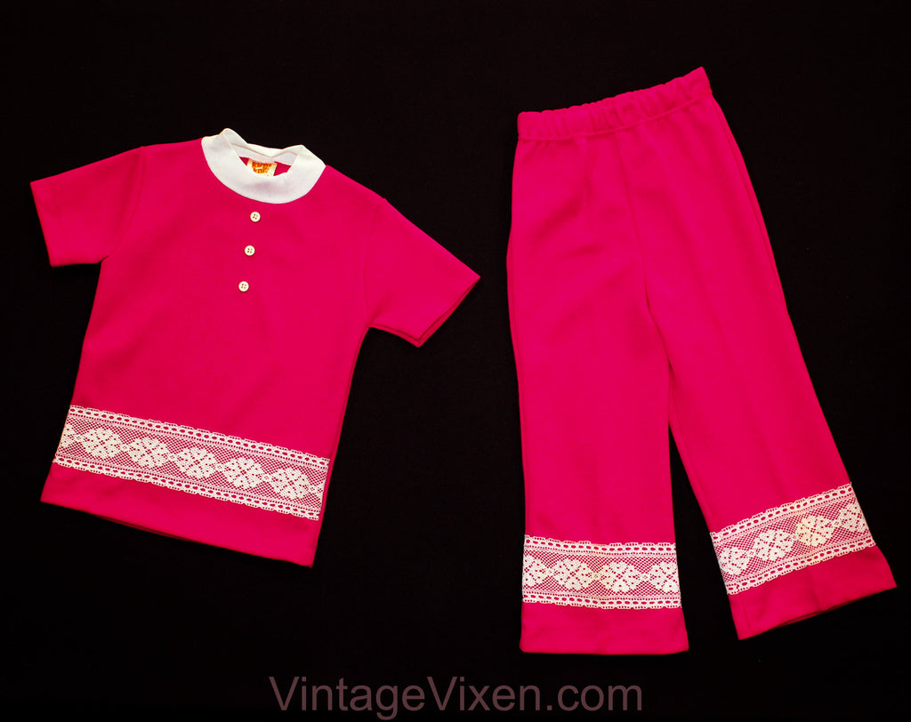 1960s Toddler Girls Pant Set - Size 3T Girl's Polyester Outfit - 60s 70s Fuchsia Pink Tunic Top and Bell Bottoms with Lace - NWT Deadstock
