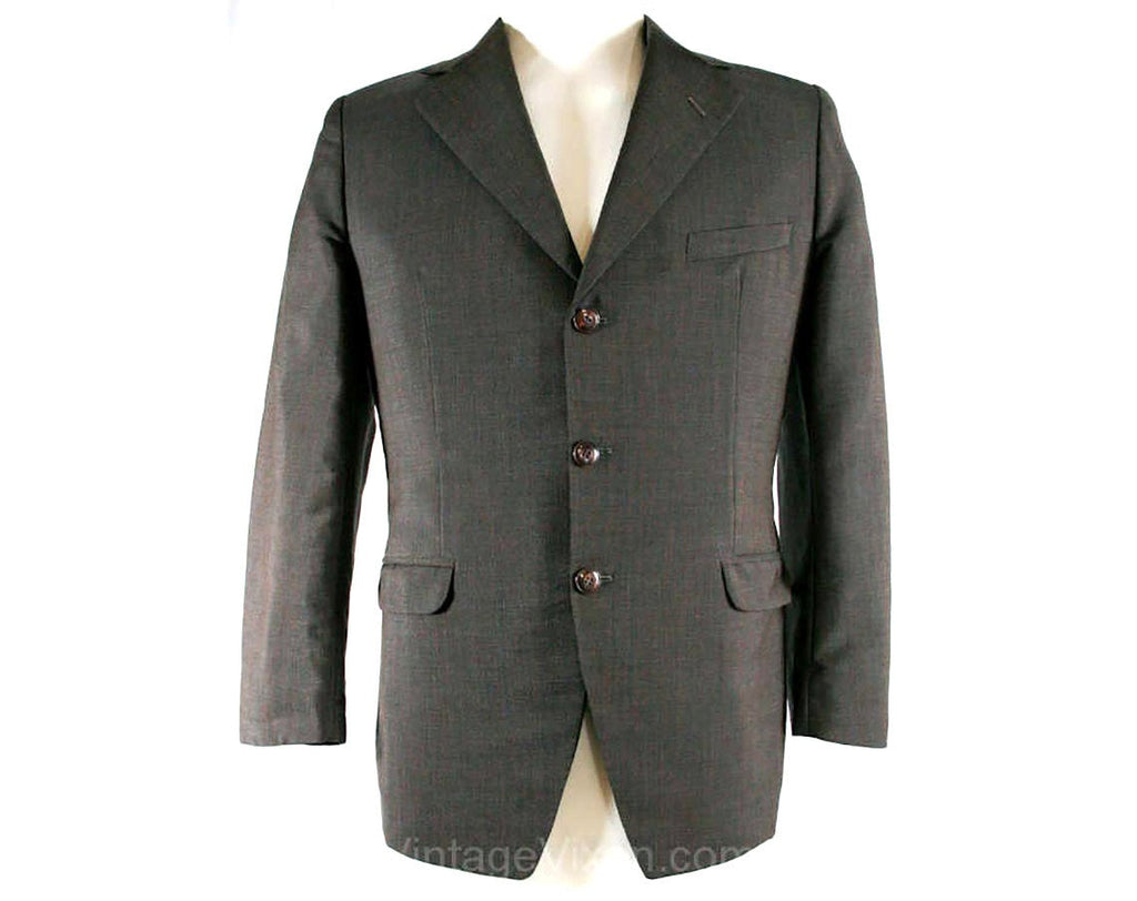 Men's Small 1960s Brown Worsted Men's Mod Jacket - 60s Tailored Sport Coat - British Invasion - Sharkskin Sheen - Chest 39 - 40808-1
