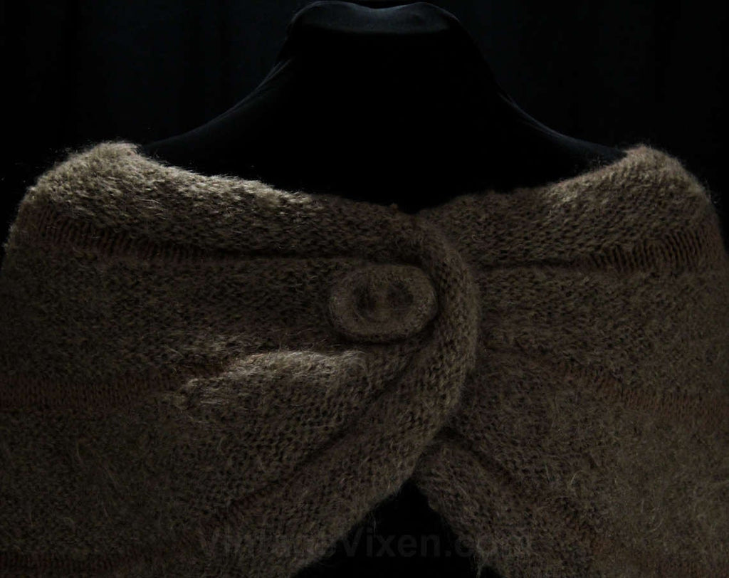 1950s Fluffy Mocha Knit Wrap 50s 60s Light Brown Shoulder Shawl Any Size Soft Mohair Wool Shrug 47393 Bombshell Style Autumn