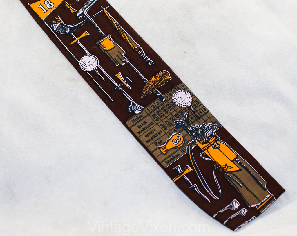 1960s Square End Tie - Golf Theme Mens 60s Novelty Print Necktie by Rooster Ties - Golfing Gear Clubs Balls Tees 18th Hole - Brown & Orange