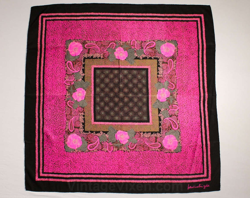 Pauline Trigere Scarf - Magenta Pink & Black Floral Print Silk - 1970s Designer - Flowers Paisleys Pointillist - 70s 80s - 34 Inch Square