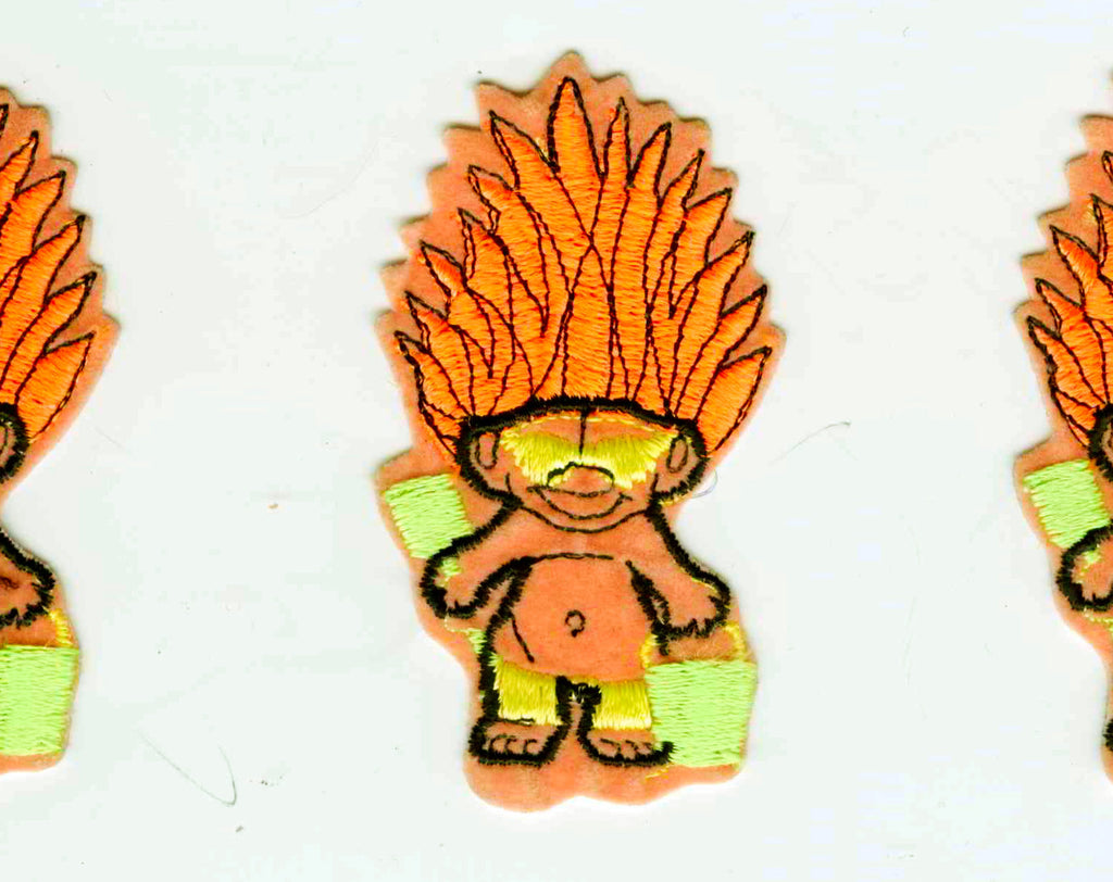 1990s Troll Patch - Alternative Pop Culture 90s Applique for Jacket - Kiddy Iconic Toys - Big Orange Hair - Summer Troll At Beach - 48303