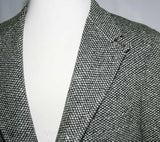 Men's Medium 1960s Vintage Abercrombie & Fitch Hacking Jacket - 60s Mens - Equestrian Collar - Black and White Wool Tweed - Chest 40 - 38300