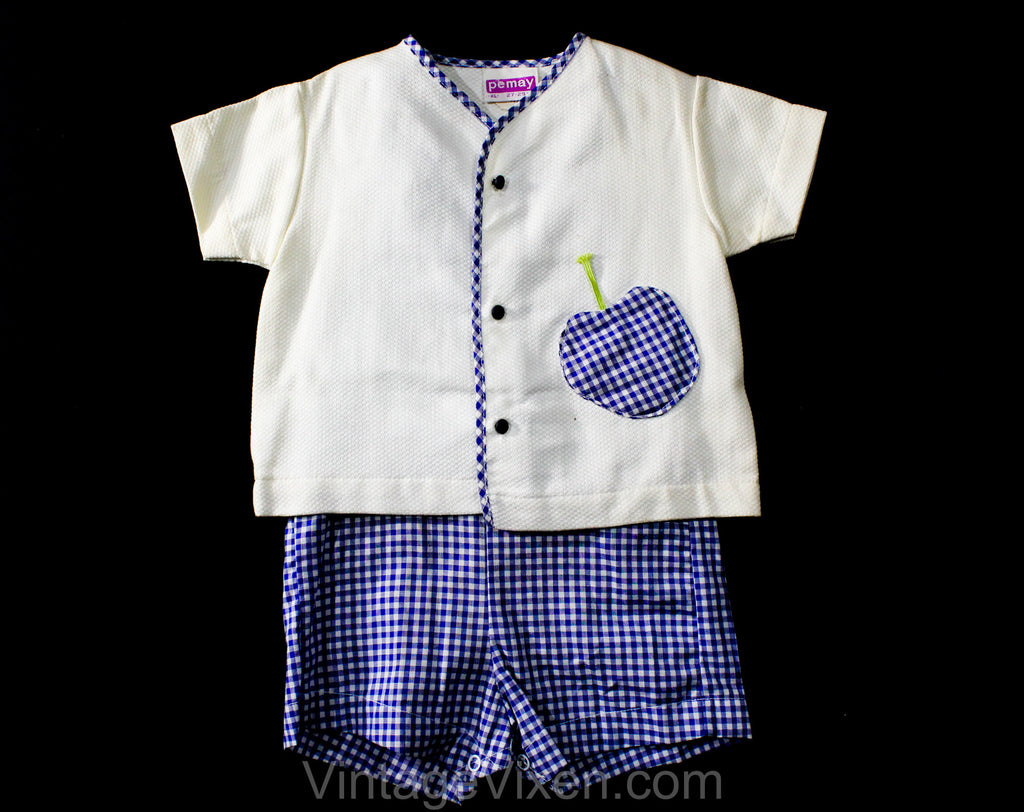 Cute 60s Blue Apple Shirt & Gingham Overall - Size 24 Months Toddlers Play Summer Outfit - Gender Neutral 1960s Deadstock - Childrens 2-Pc