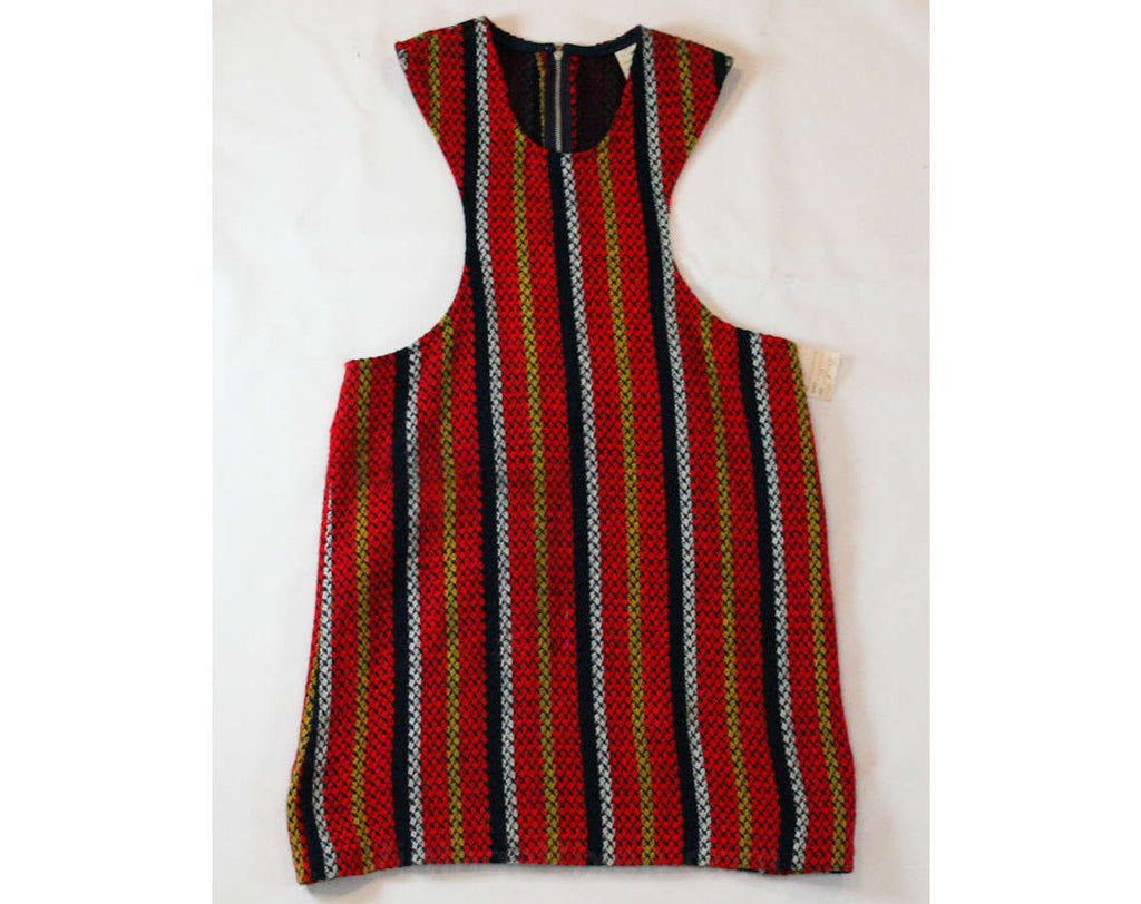Girl's Mod 60s Dress - Child Size 10 - 1960s Red & Navy Striped Tweed Jumper - Sleeveless - Go Go Girls Mini Dress - Hip 33 - 43537
