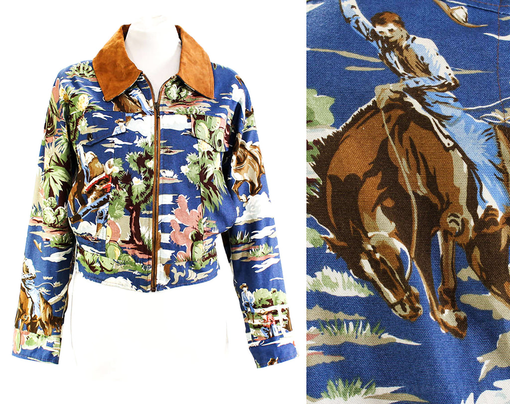Large Western Novelty Print Jacket with Leather Collar - 1990s Casual Cowboy Scenes - Cactus Rodeo Horses Southwest - Blue & Brown - Bust 44