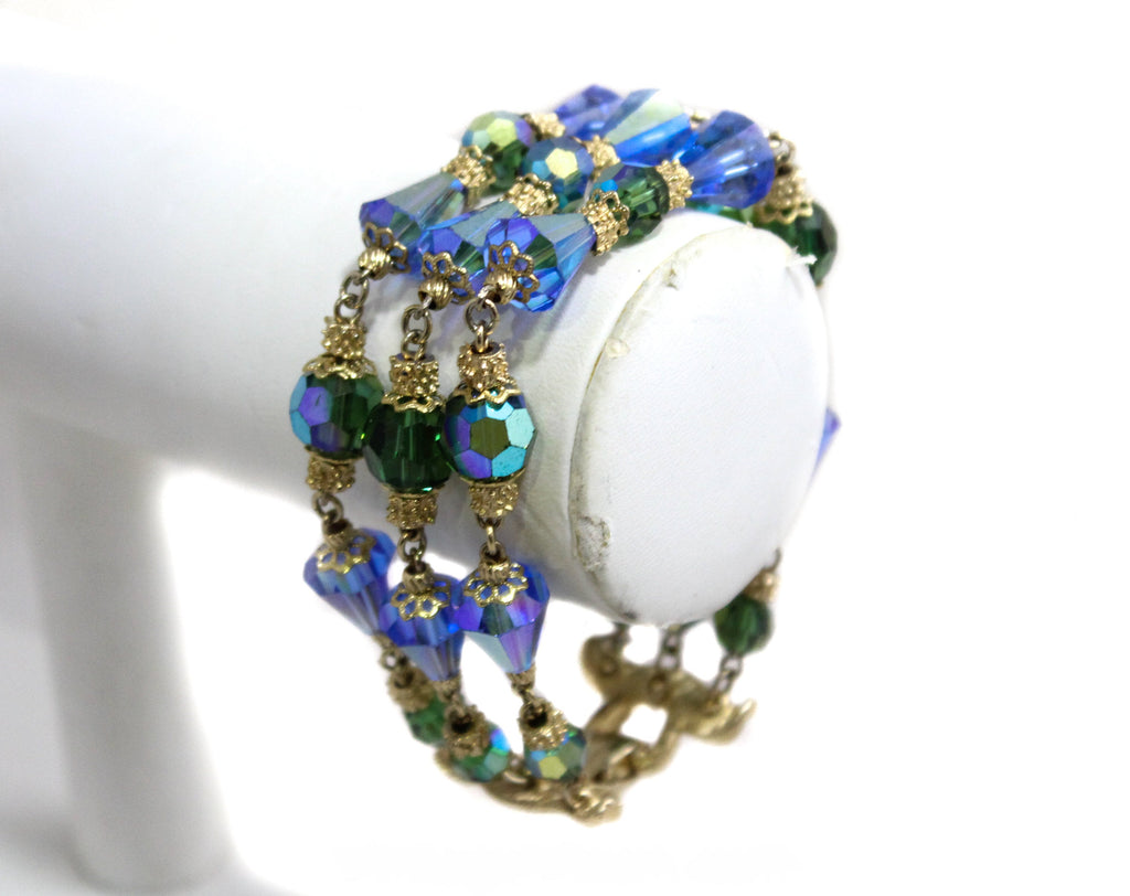 Blue & Green Beaded Glass Bracelet - Triple Strands - Gorgeous 1950s 1960s Jewelry by Corocraft - Sapphire Peridot Aurora Borealis - 50450