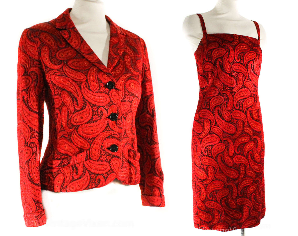Size 0 Designer Rudi Gernreich 1960s Red Paisley Cocktail Dress & Jacket - XXS 60s Brocade Evening Suit - Slim Fitted Posh - Bust 31.5
