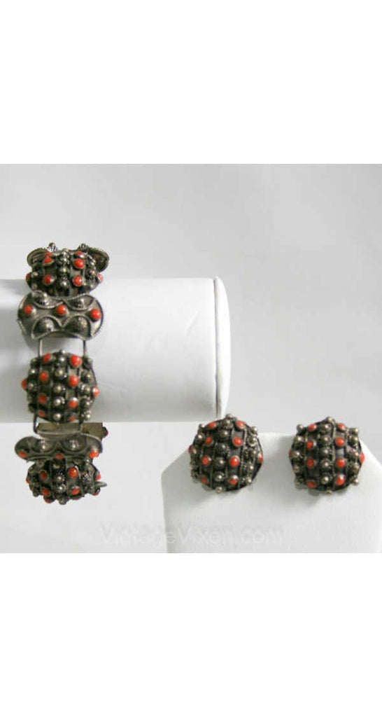 Italian Chic 1940s Silver & Carnelian Bracelet Set - Earrings - 40s Demi-Parure - Orange - Made In Italy - Deadstock - New In Box - 40243
