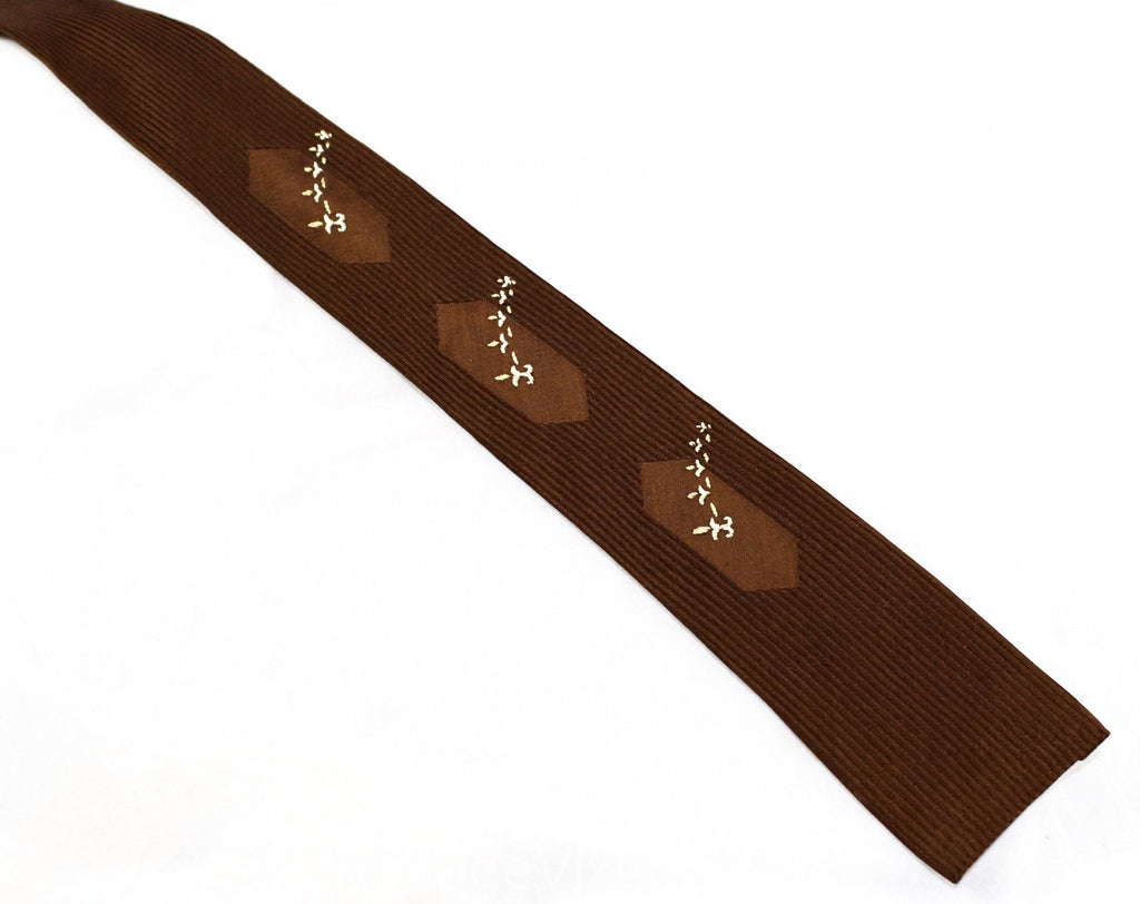 40s Men's Tie - 1940s Rayon Square End Necktie - Retro Chocolate Brown Satin Brocade with Fleur De Lis Embroidery - Saks Mens Shop New York