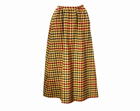 XXS 1960s Tweed Maxi Skirt - Size 000 Beige Maroon Red Brown & Gray Wool Office Wear - Tailored 60s 70s Long Skirt with Pockets - Waist 22