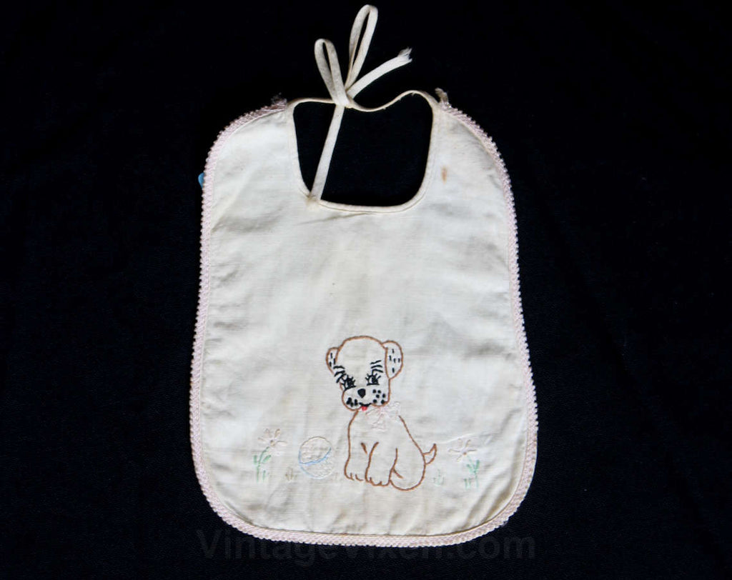 1930s Baby Bib - 30s 40s Embroidered Puppy Dog Infants Accessories - Novelty Theme - White Cotton & Hand Embroidery - Doggy - 29866